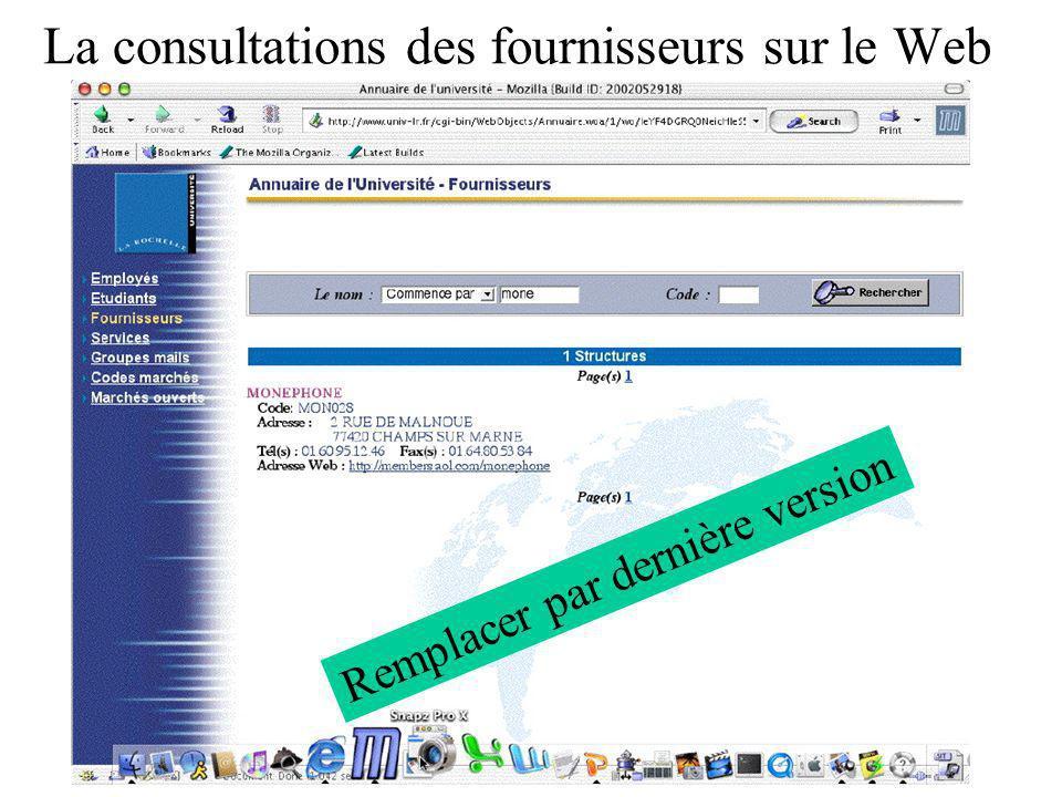 La consultations des fournisseurs sur le Web