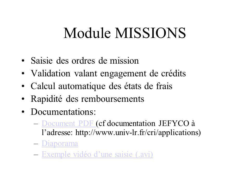 Module MISSIONS Saisie des ordres de mission