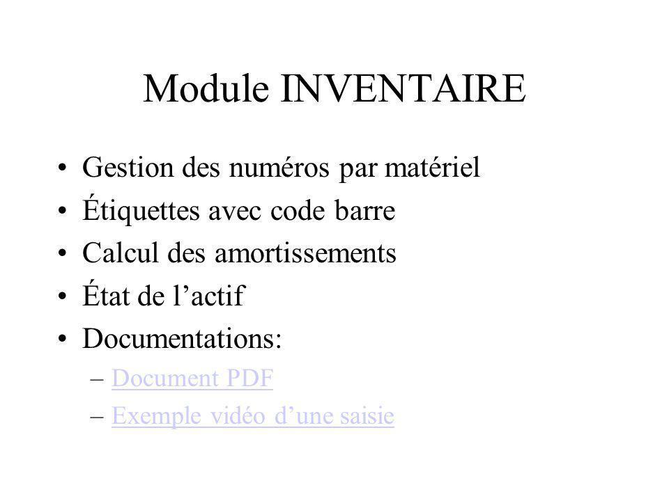 Module INVENTAIRE Gestion des numéros par matériel