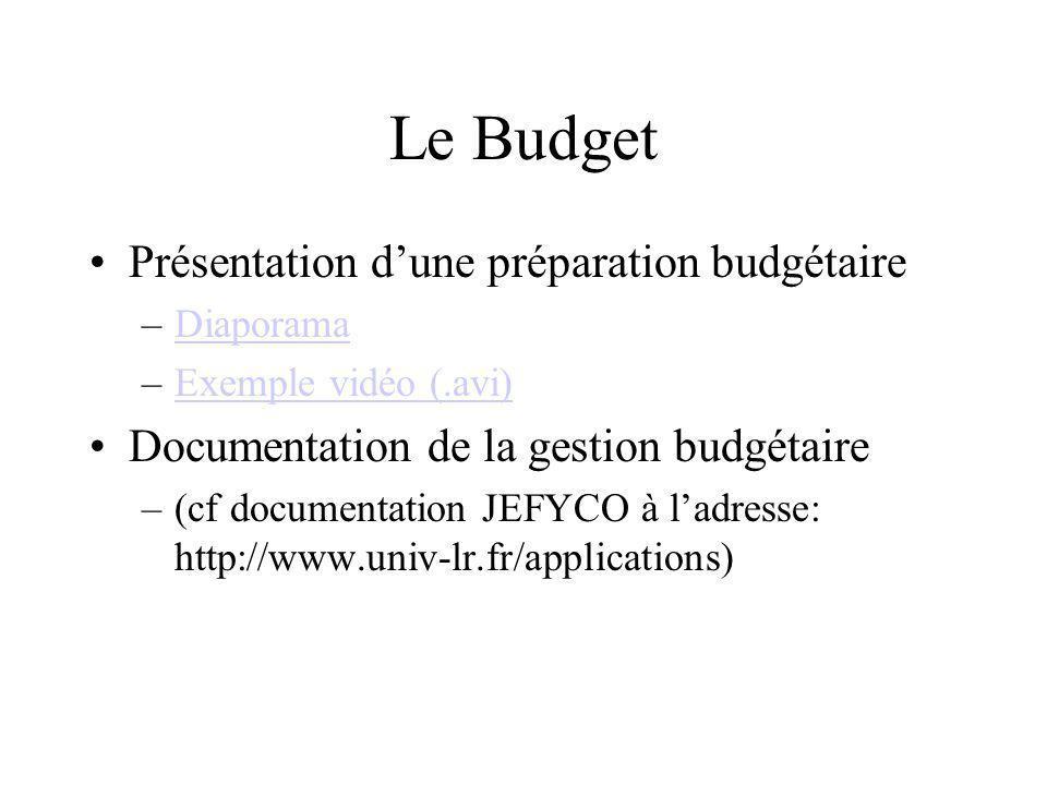 Le Budget Présentation d'une préparation budgétaire
