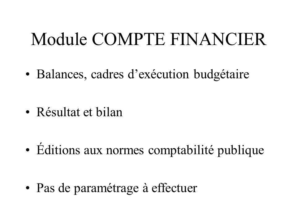 Module COMPTE FINANCIER