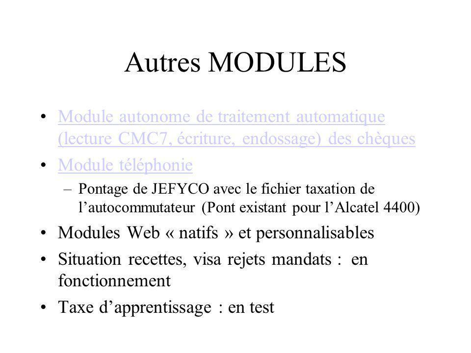 Autres MODULES Module autonome de traitement automatique (lecture CMC7, écriture, endossage) des chèques.