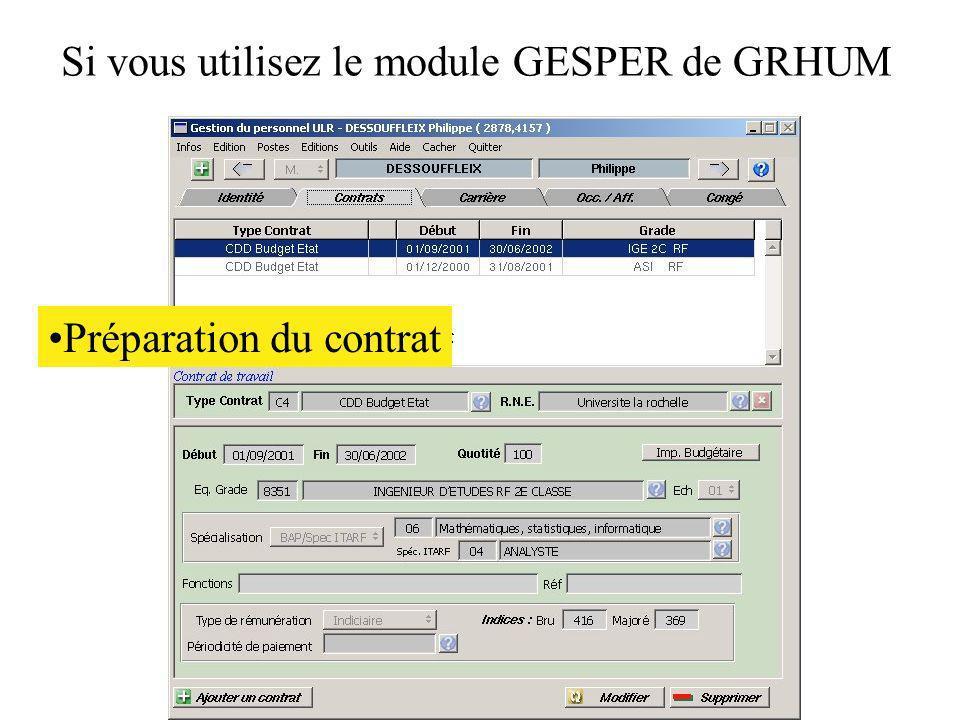 Si vous utilisez le module GESPER de GRHUM
