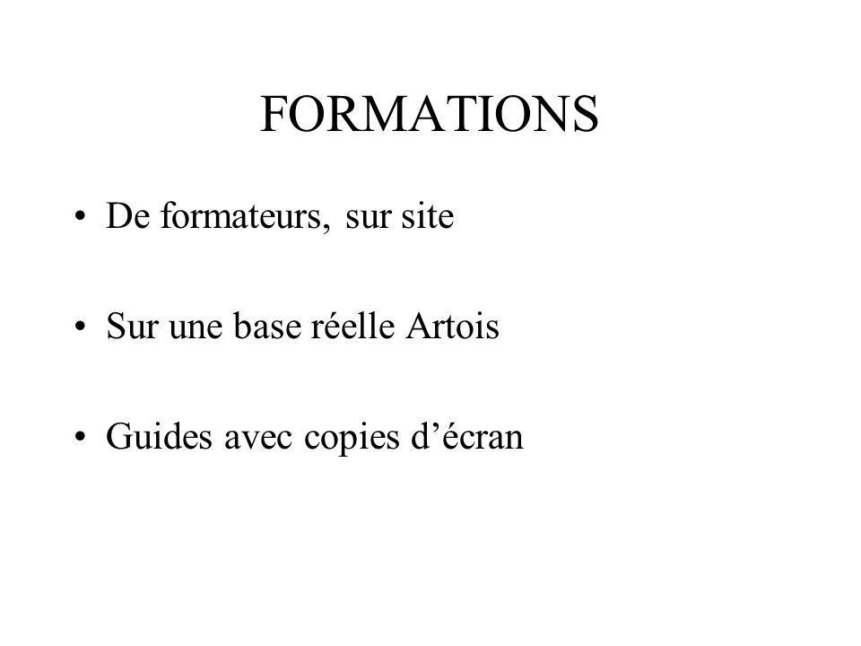 FORMATIONS De formateurs, sur site Sur une base réelle Artois