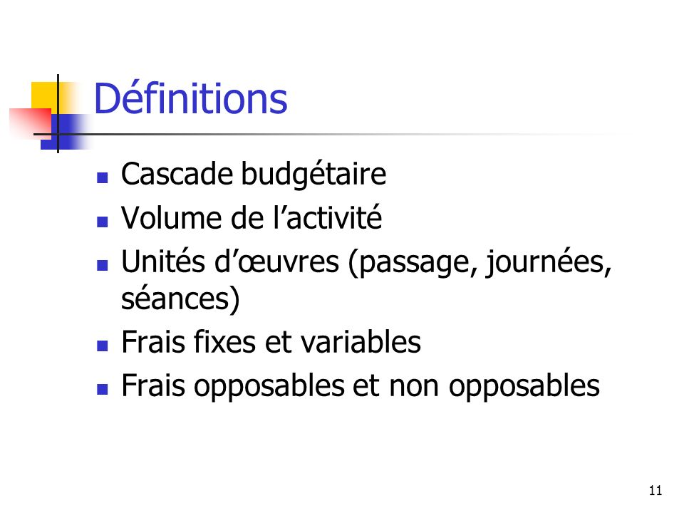 Définitions Cascade budgétaire Volume de l'activité