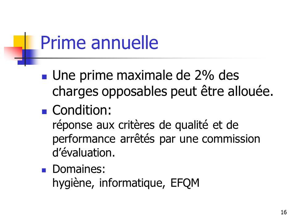 Prime annuelle Une prime maximale de 2% des charges opposables peut être allouée.