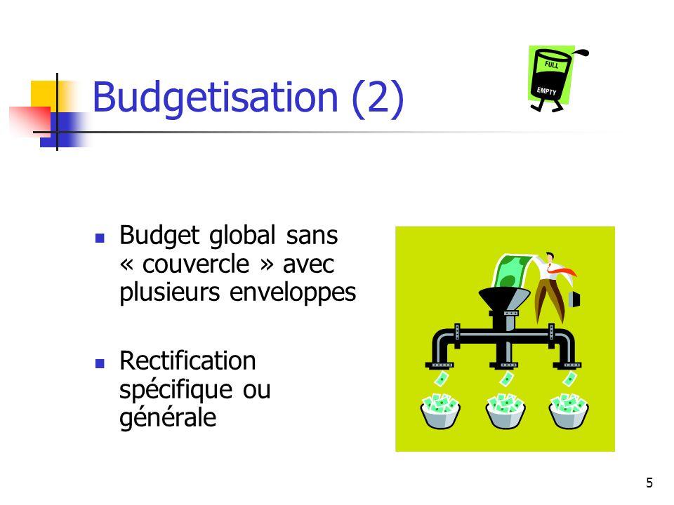 Budgetisation (2) Budget global sans « couvercle » avec plusieurs enveloppes.