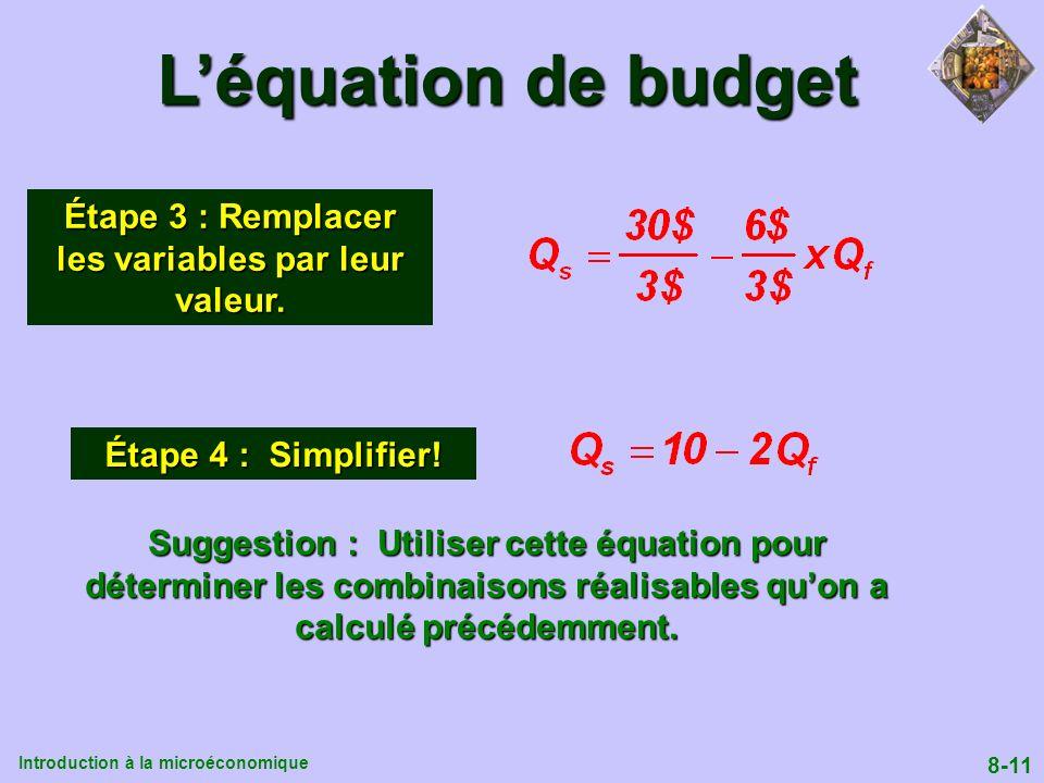 Étape 3 : Remplacer les variables par leur valeur.
