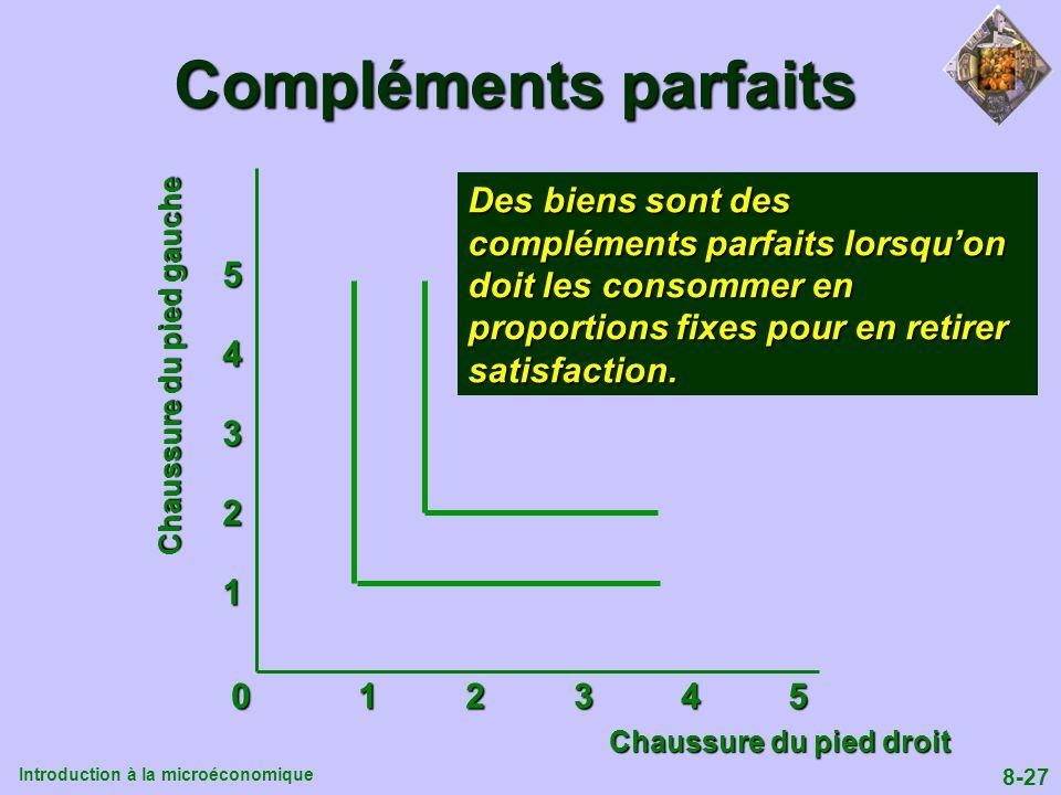 Compléments parfaits Des biens sont des compléments parfaits lorsqu'on doit les consommer en proportions fixes pour en retirer satisfaction.