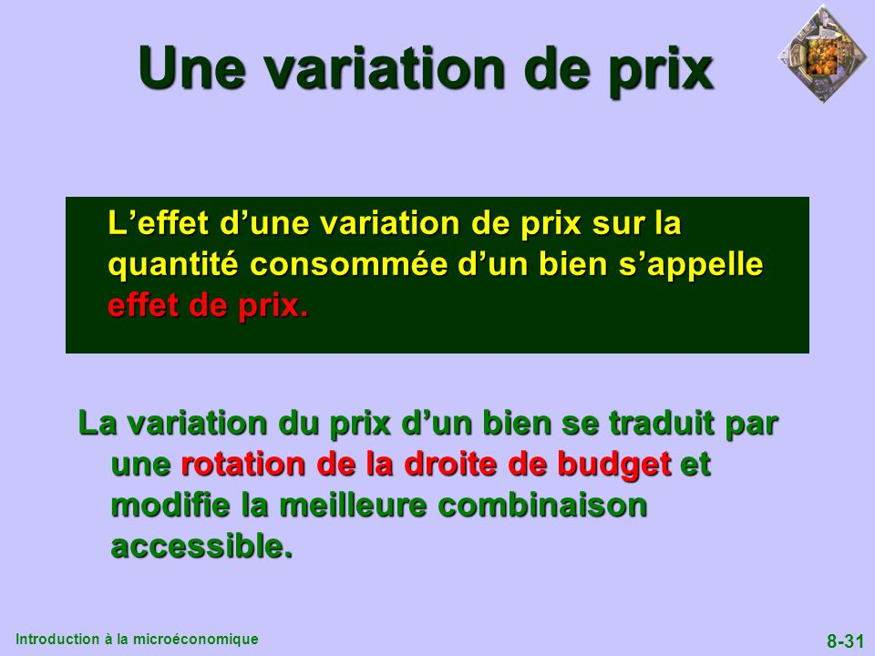 Une variation de prix L'effet d'une variation de prix sur la quantité consommée d'un bien s'appelle effet de prix.