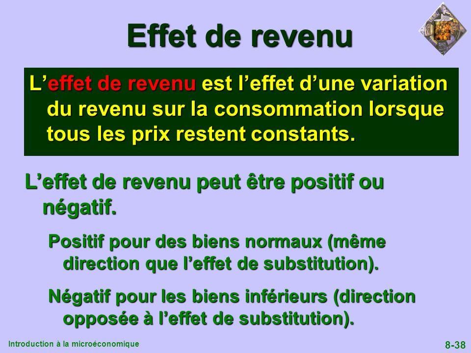 Effet de revenu L'effet de revenu est l'effet d'une variation du revenu sur la consommation lorsque tous les prix restent constants.