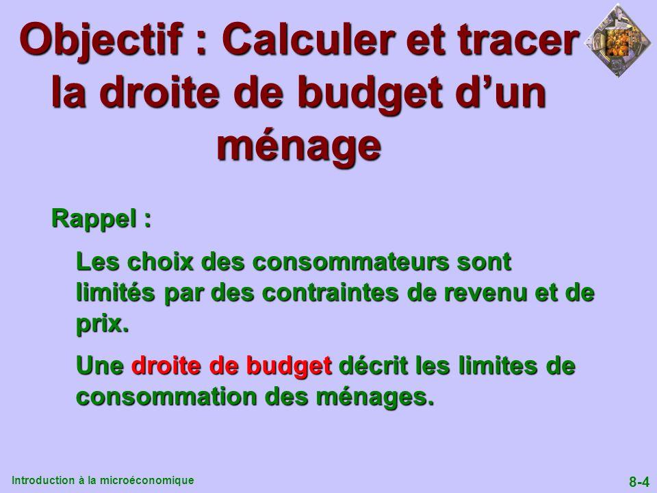 Objectif : Calculer et tracer la droite de budget d'un ménage