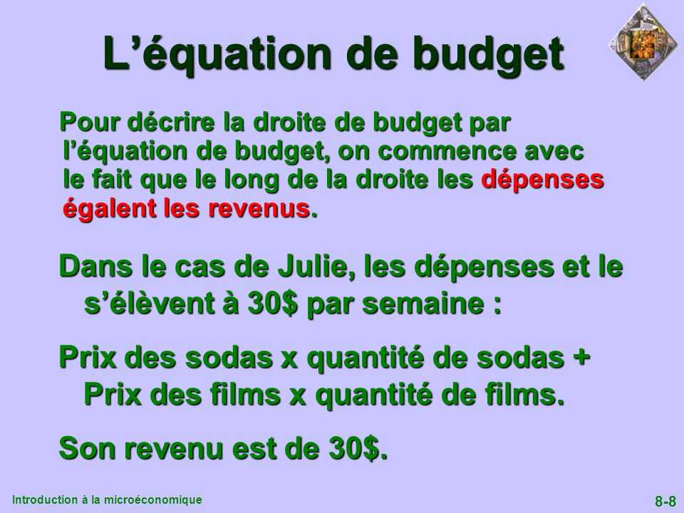 L'équation de budget