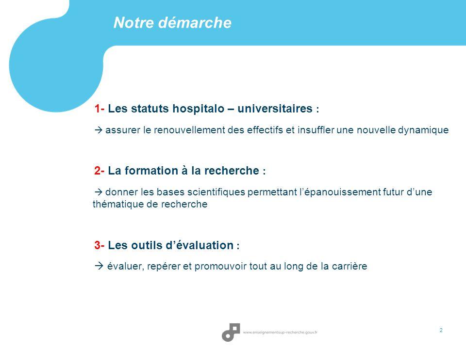 Notre démarche 1- Les statuts hospitalo – universitaires :