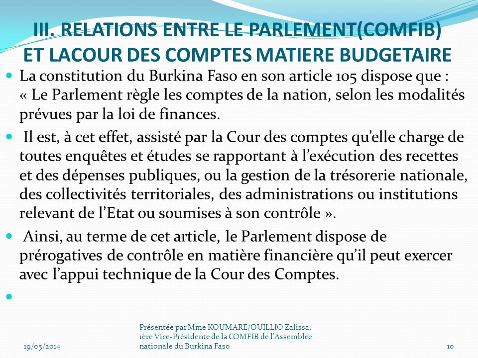 III. RELATIONS ENTRE LE PARLEMENT(COMFIB) ET LACOUR DES COMPTES MATIERE BUDGETAIRE