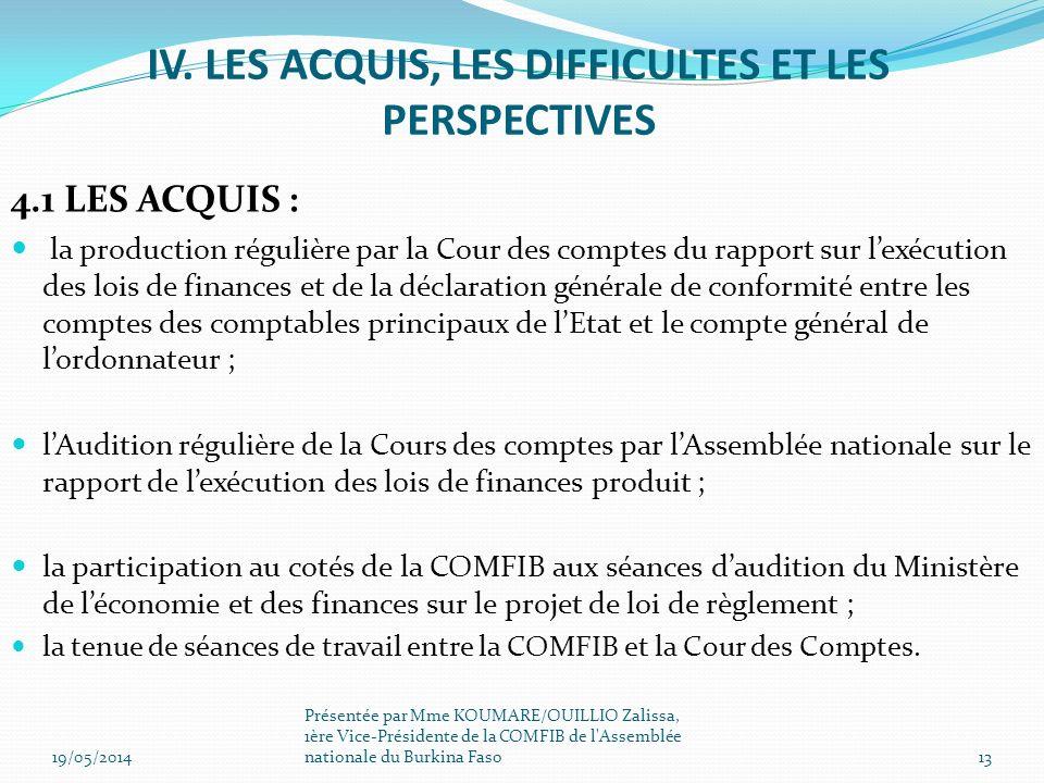 IV. LES ACQUIS, LES DIFFICULTES ET LES PERSPECTIVES