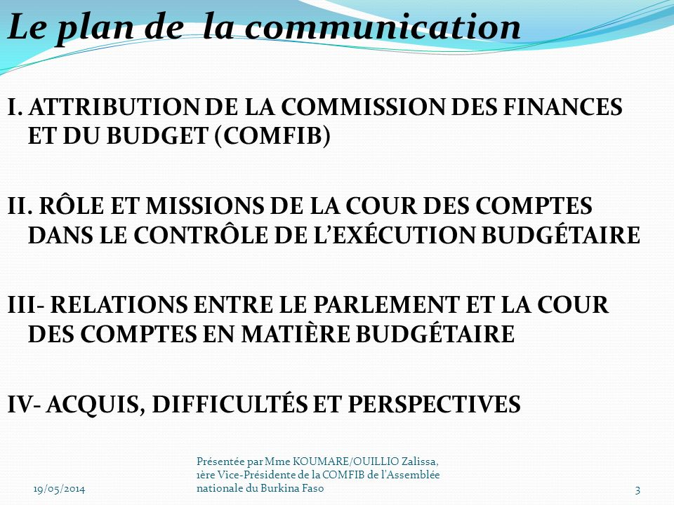 Le plan de la communication