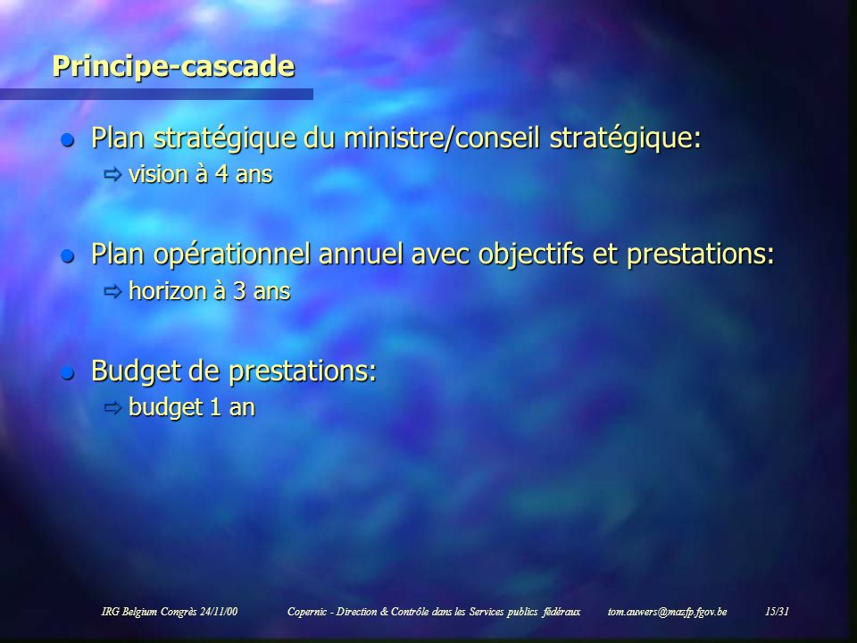 Plan stratégique du ministre/conseil stratégique: