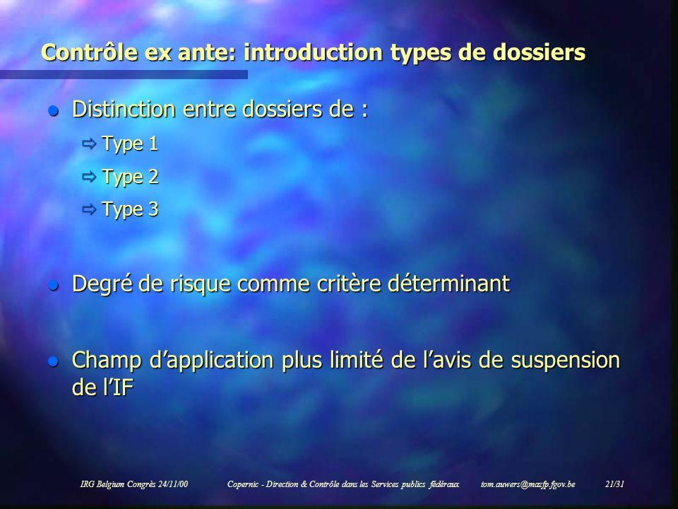 Contrôle ex ante: introduction types de dossiers