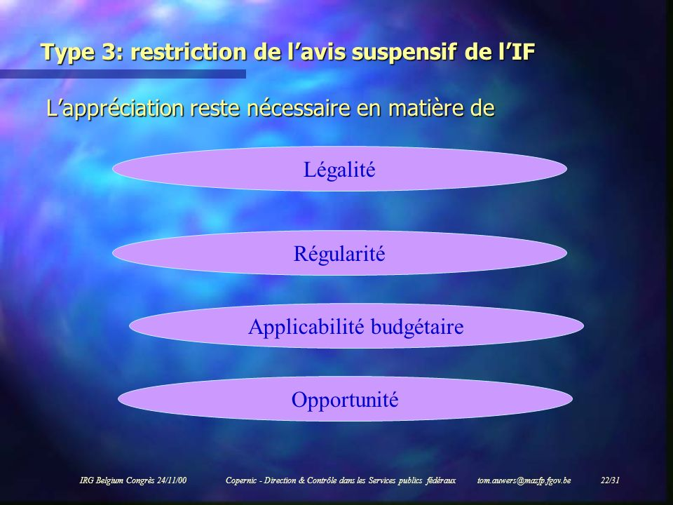 Type 3: restriction de l'avis suspensif de l'IF