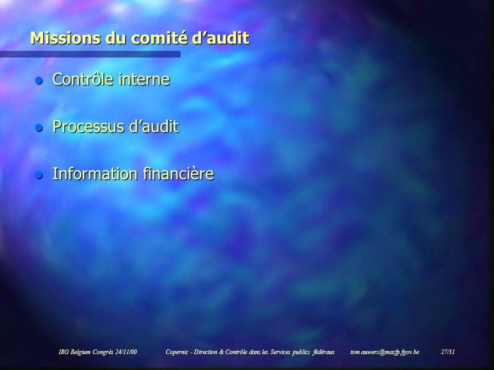 Missions du comité d'audit