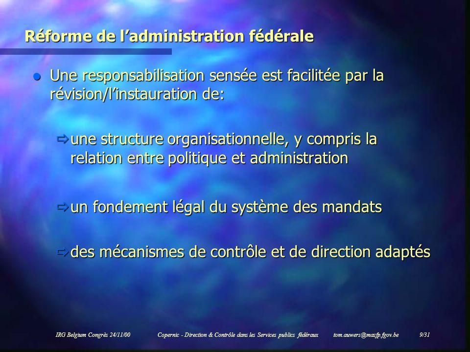 Réforme de l'administration fédérale