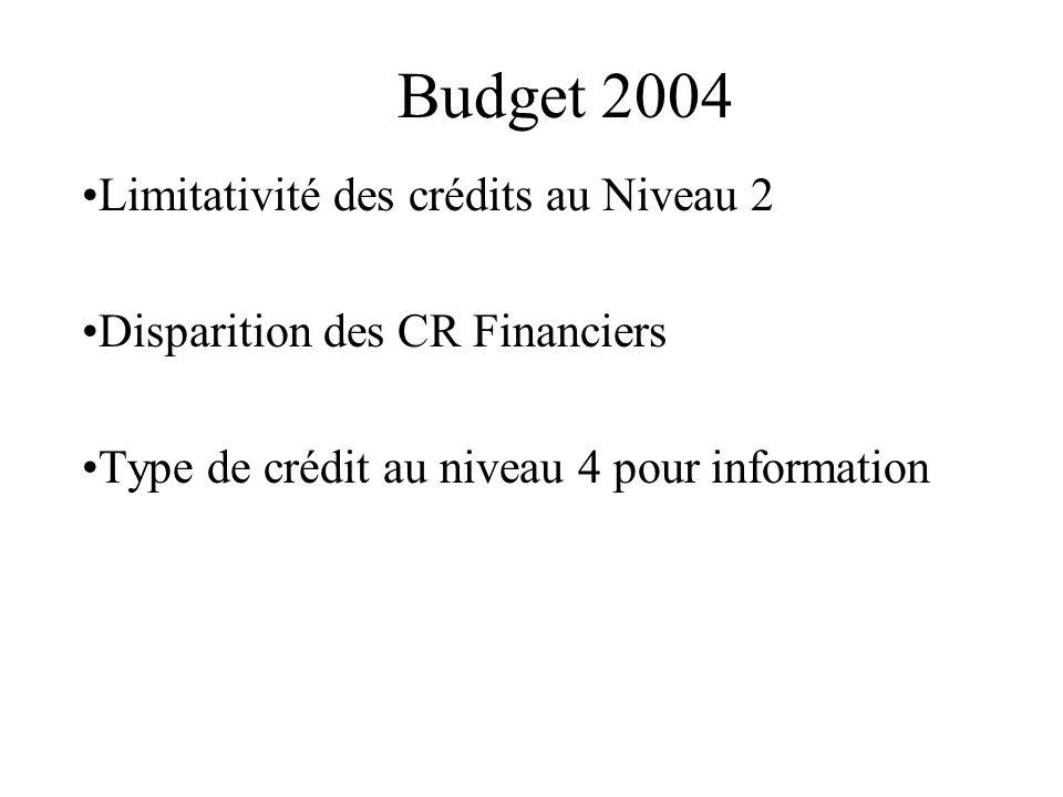 Budget 2004 Limitativité des crédits au Niveau 2
