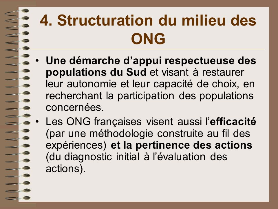 4. Structuration du milieu des ONG