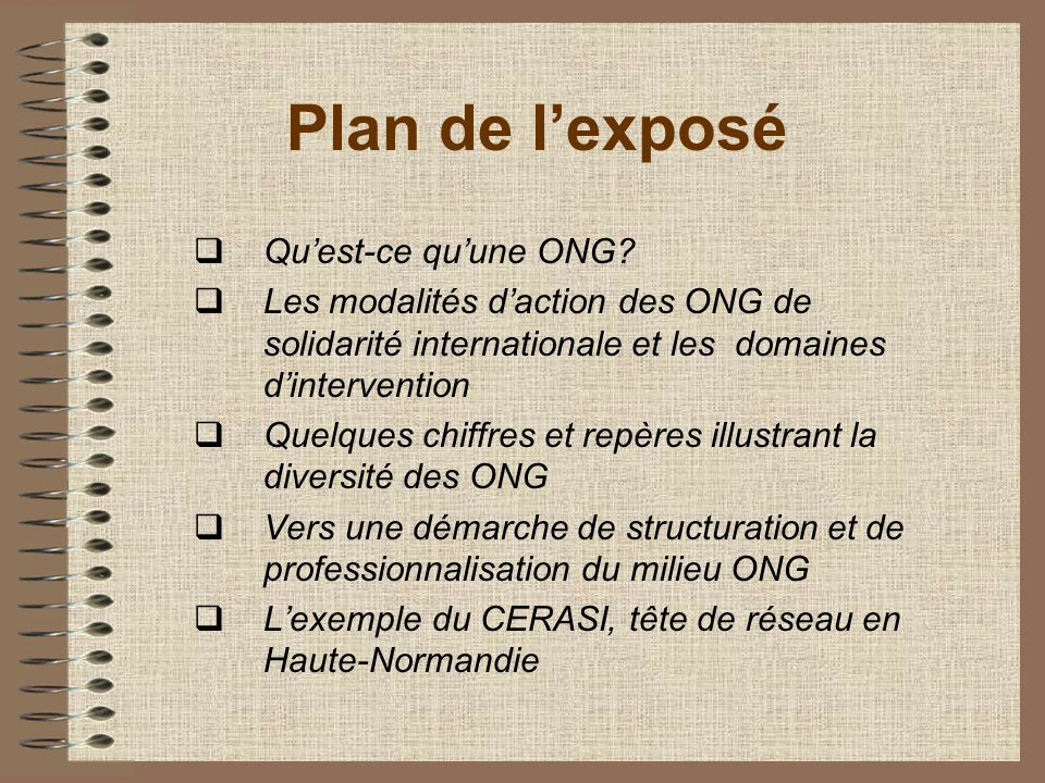Plan de l'exposé Qu'est-ce qu'une ONG