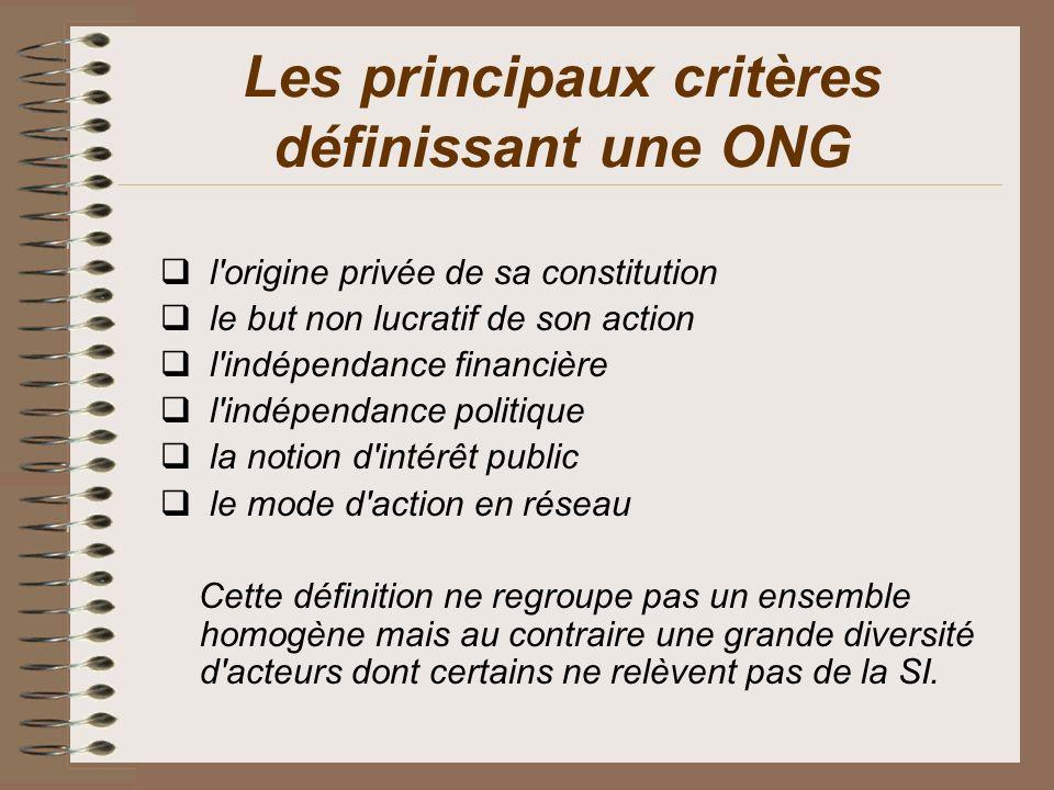 Les principaux critères définissant une ONG