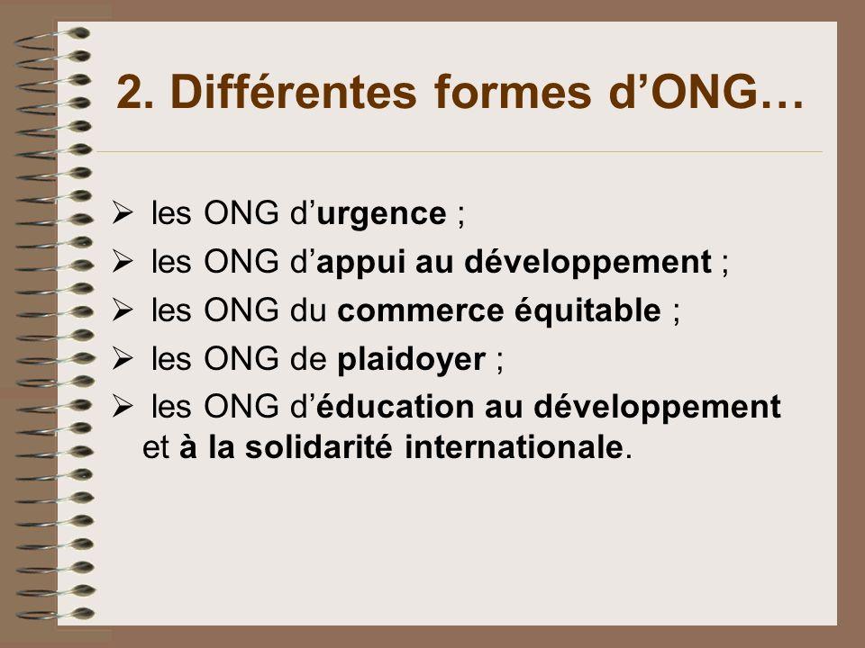 2. Différentes formes d'ONG…