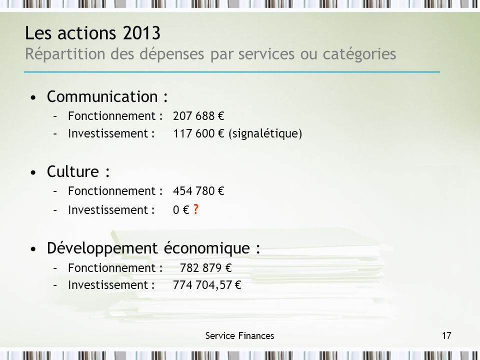 Les actions 2013 Répartition des dépenses par services ou catégories
