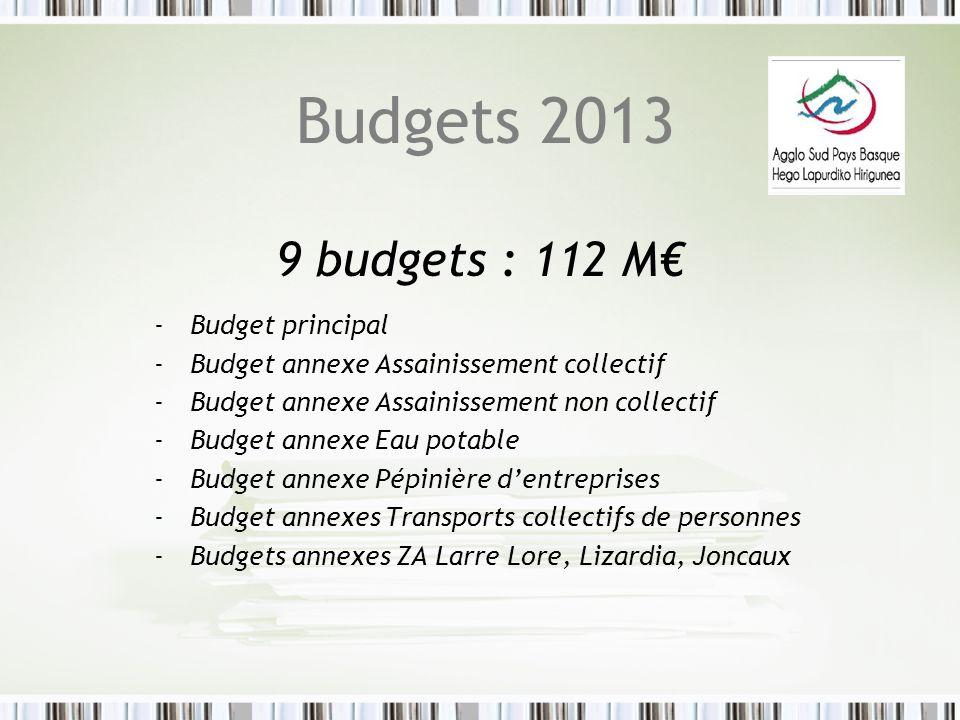 Budgets 2013 9 budgets : 112 M€ Budget principal