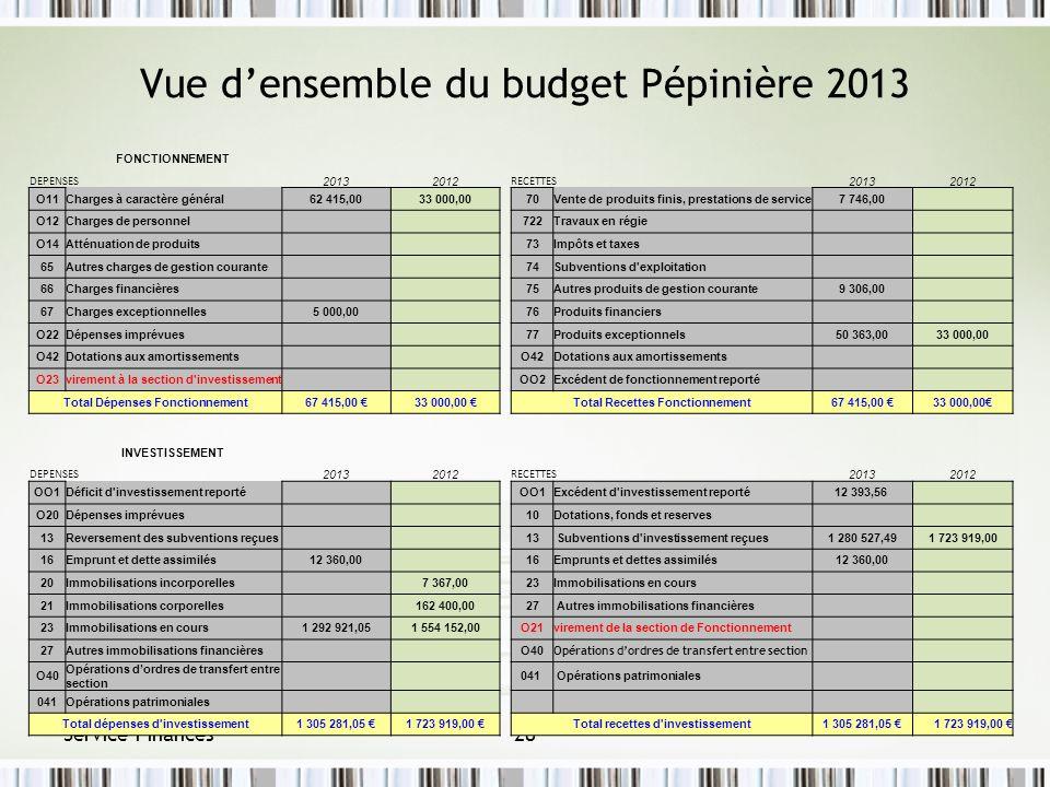 Vue d'ensemble du budget Pépinière 2013