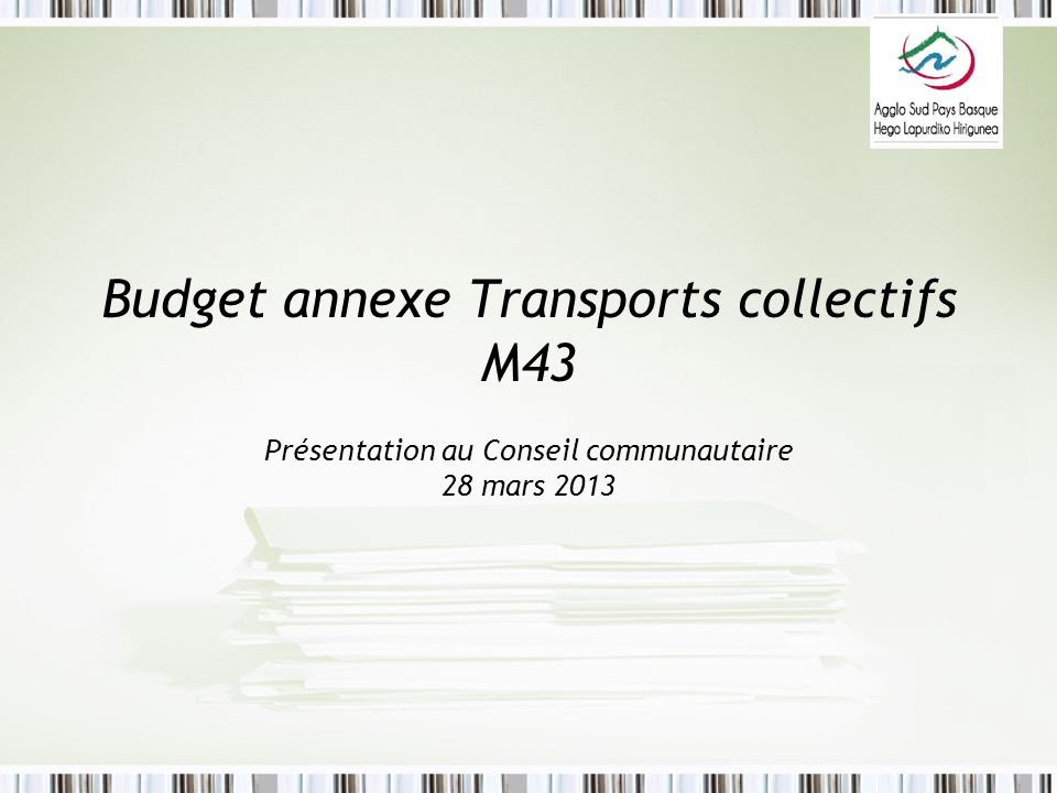 Budget annexe Transports collectifs M43