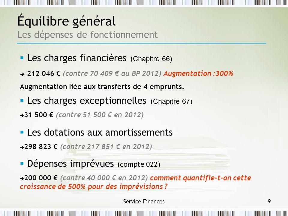Équilibre général Les dépenses de fonctionnement