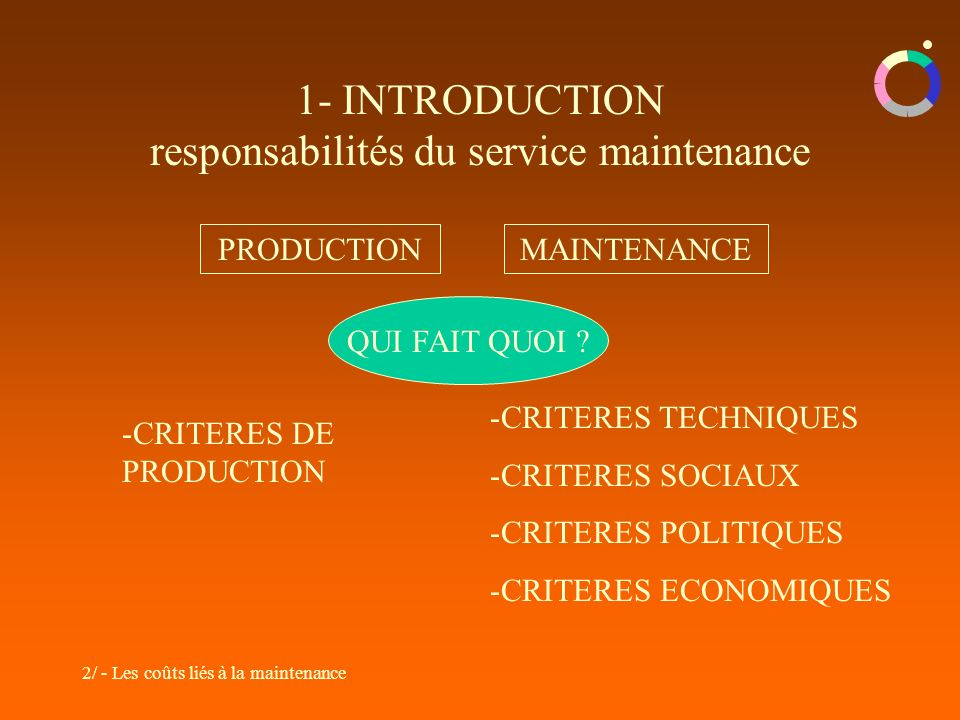 1- INTRODUCTION responsabilités du service maintenance