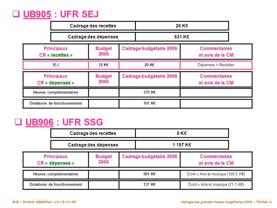 UB905 : UFR SEJ UB906 : UFR SSG Cadrage des recettes 20 K€