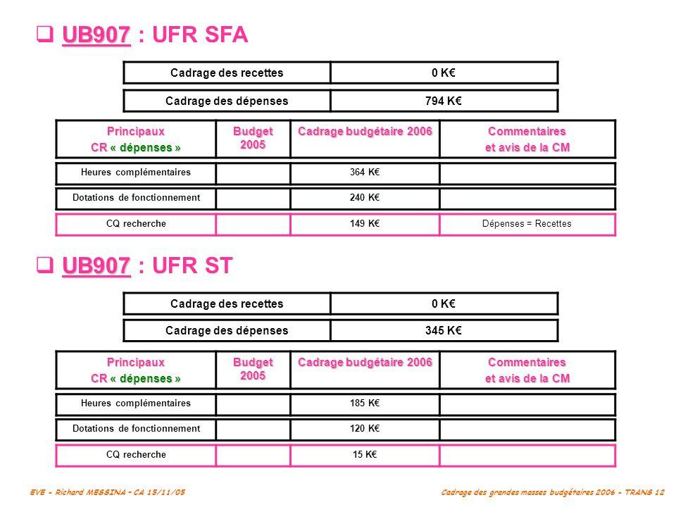 UB907 : UFR SFA UB907 : UFR ST Cadrage des recettes 0 K€