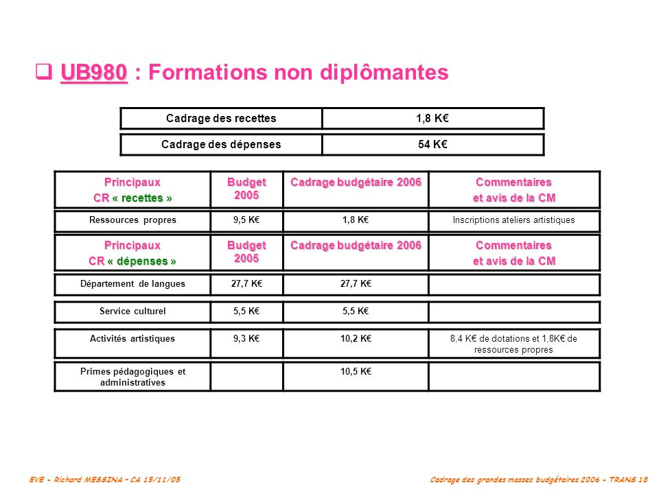 UB980 : Formations non diplômantes