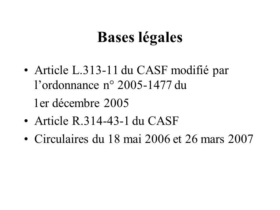 Bases légales Article L.313-11 du CASF modifié par l'ordonnance n° 2005-1477 du. 1er décembre 2005.