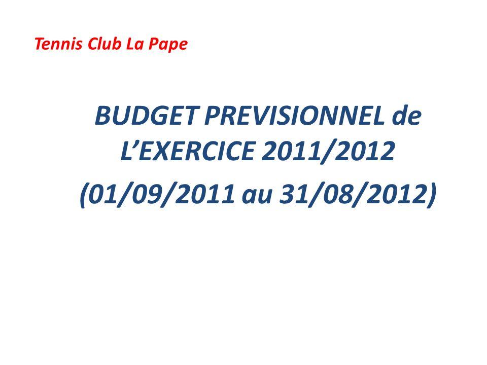 BUDGET PREVISIONNEL de L'EXERCICE 2011/2012 (01/09/2011 au 31/08/2012)