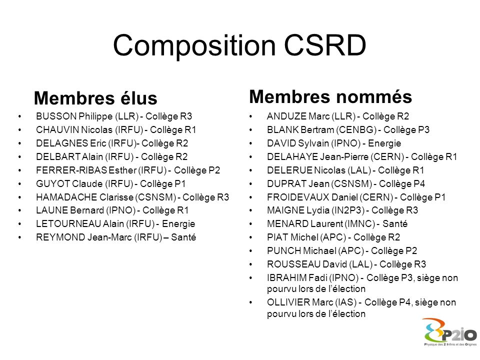 Composition CSRD Membres élus Membres nommés