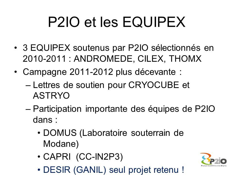 P2IO et les EQUIPEX 3 EQUIPEX soutenus par P2IO sélectionnés en 2010-2011 : ANDROMEDE, CILEX, THOMX.