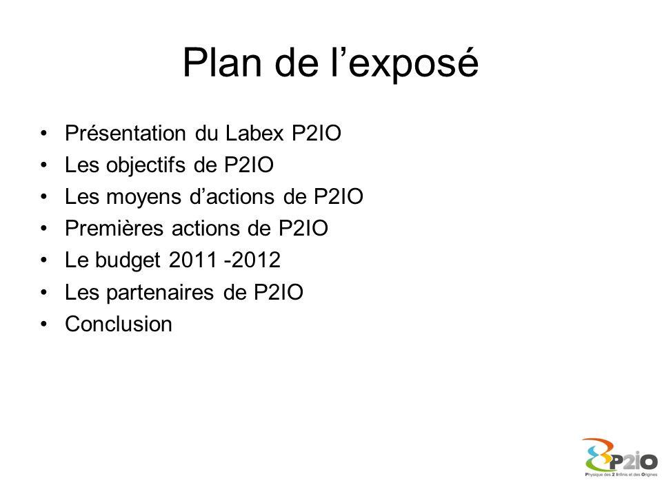 Plan de l'exposé Présentation du Labex P2IO Les objectifs de P2IO