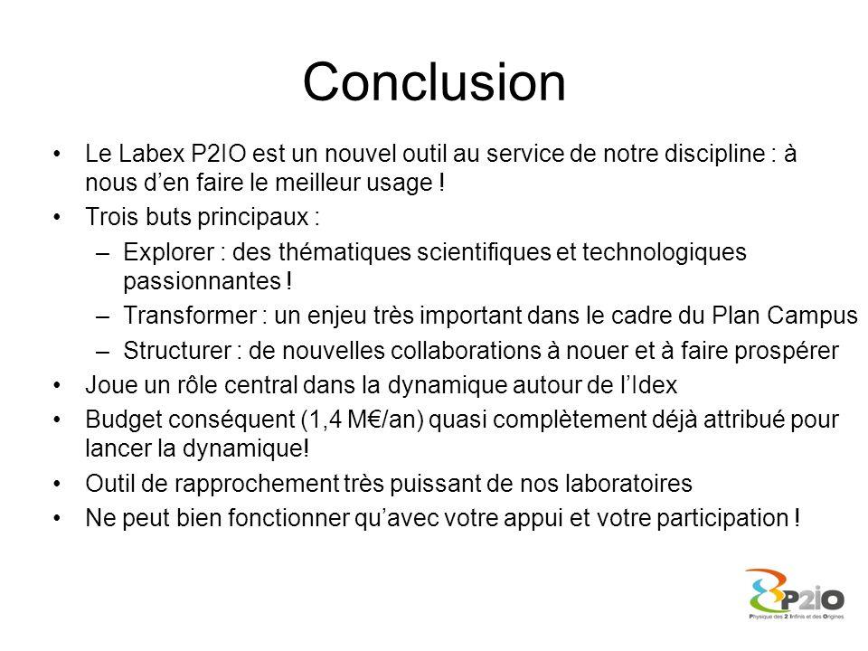 Conclusion Le Labex P2IO est un nouvel outil au service de notre discipline : à nous d'en faire le meilleur usage !