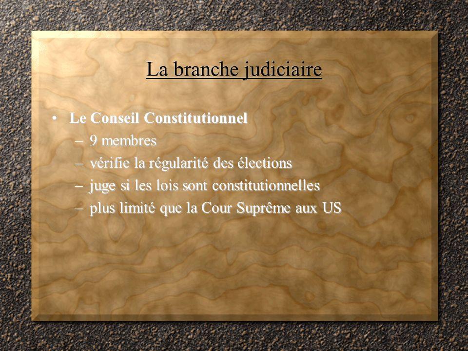 La branche judiciaire Le Conseil Constitutionnel 9 membres
