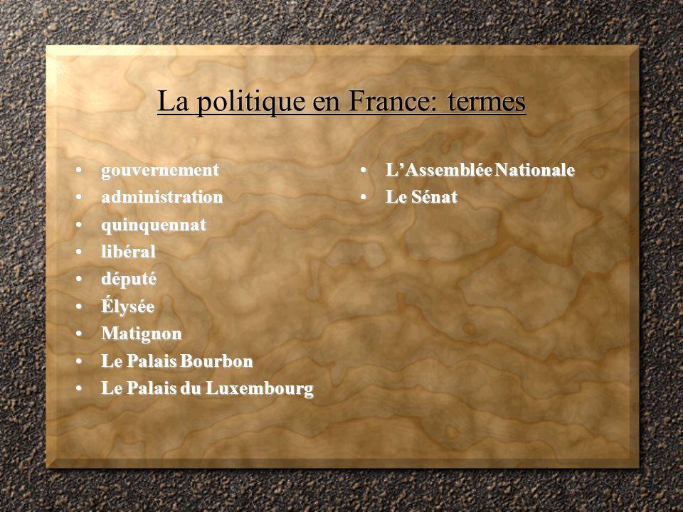 La politique en France: termes