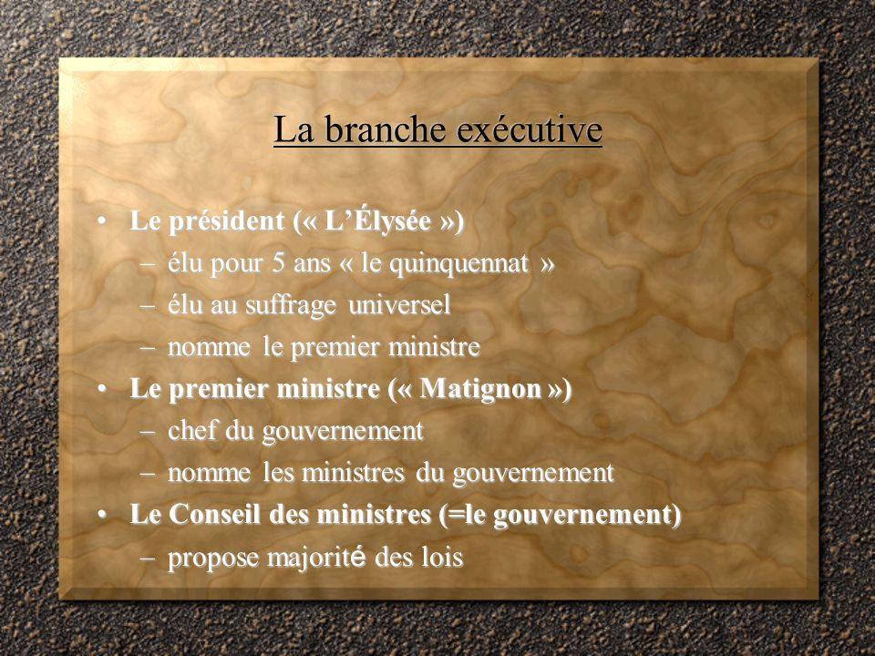 La branche exécutive Le président (« L'Élysée »)