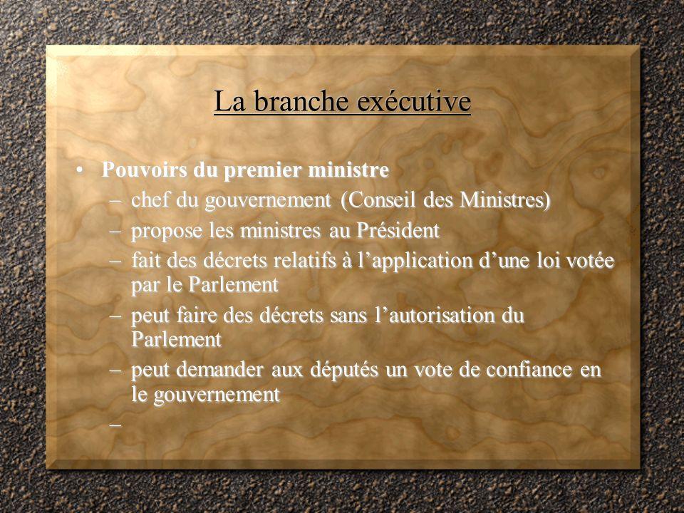 La branche exécutive Pouvoirs du premier ministre